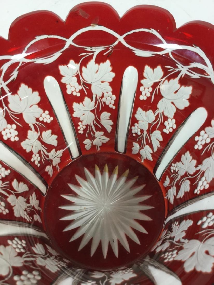 Etched Cut Vintage Cranberry Glass Vase - 7