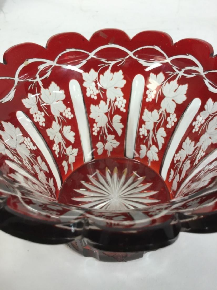 Etched Cut Vintage Cranberry Glass Vase - 8