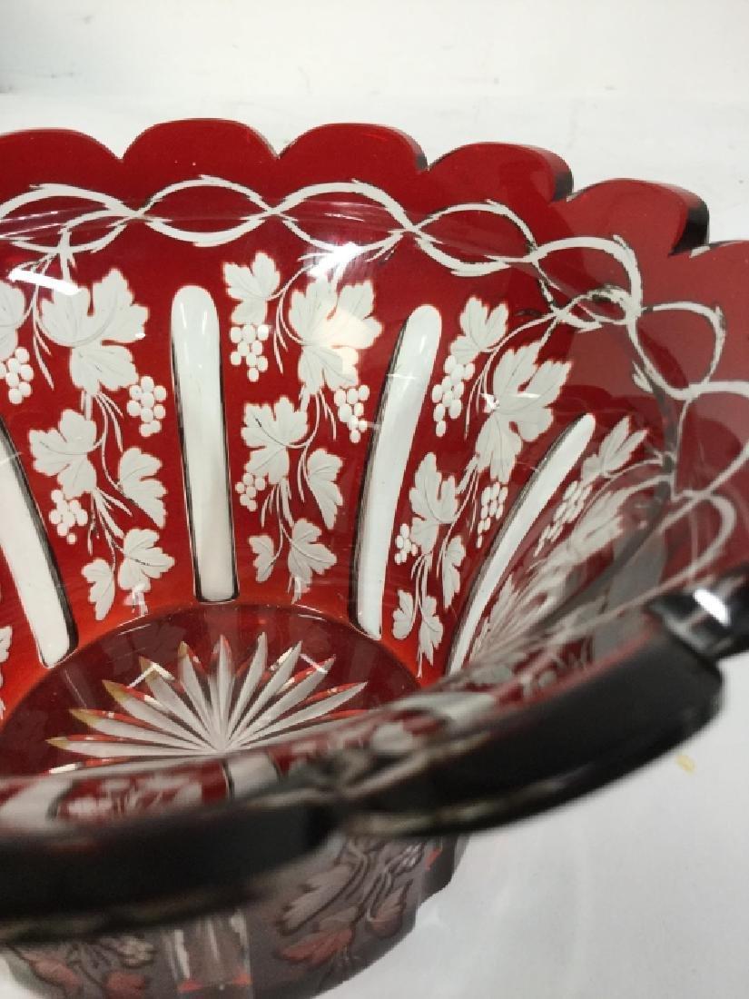 Etched Cut Vintage Cranberry Glass Vase - 9