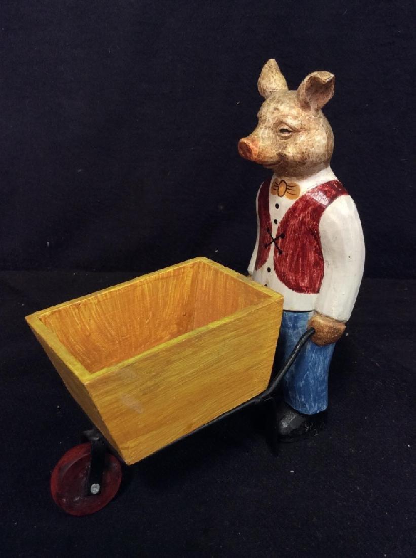 FORESIDE Pig Statuette Pushing Wheel Barrow