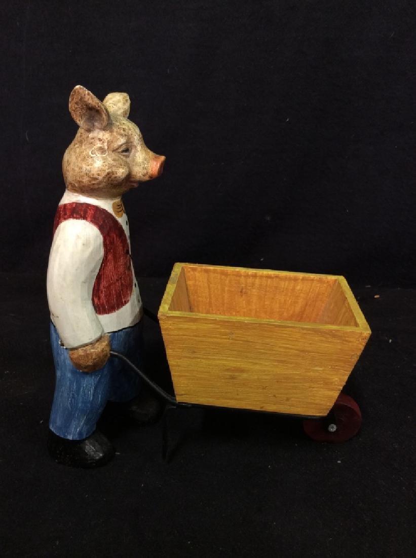 FORESIDE Pig Statuette Pushing Wheel Barrow - 4