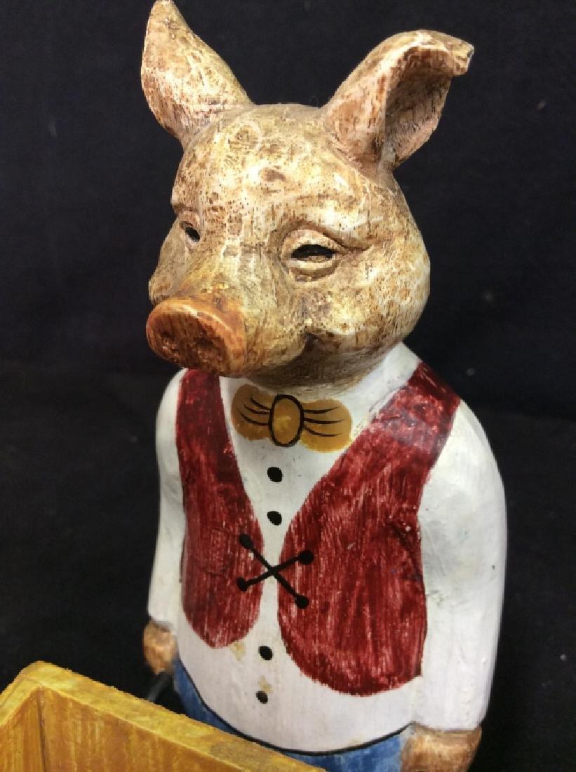 FORESIDE Pig Statuette Pushing Wheel Barrow - 6