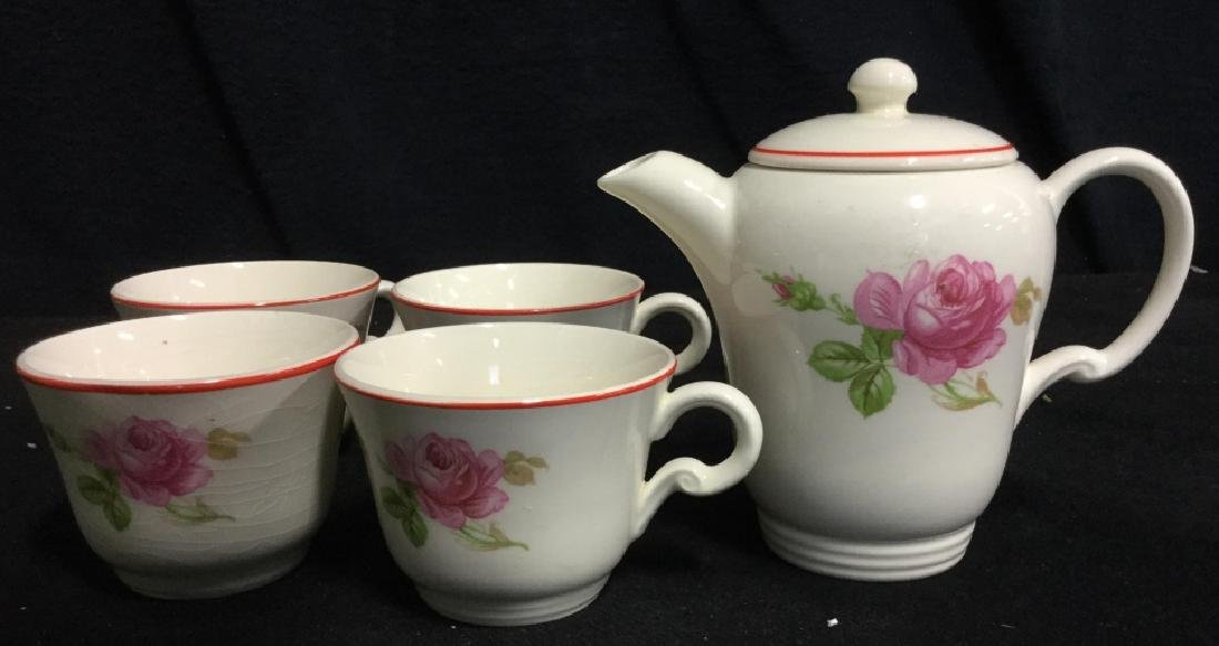 Floral Painted Tea Set Pot w Cups