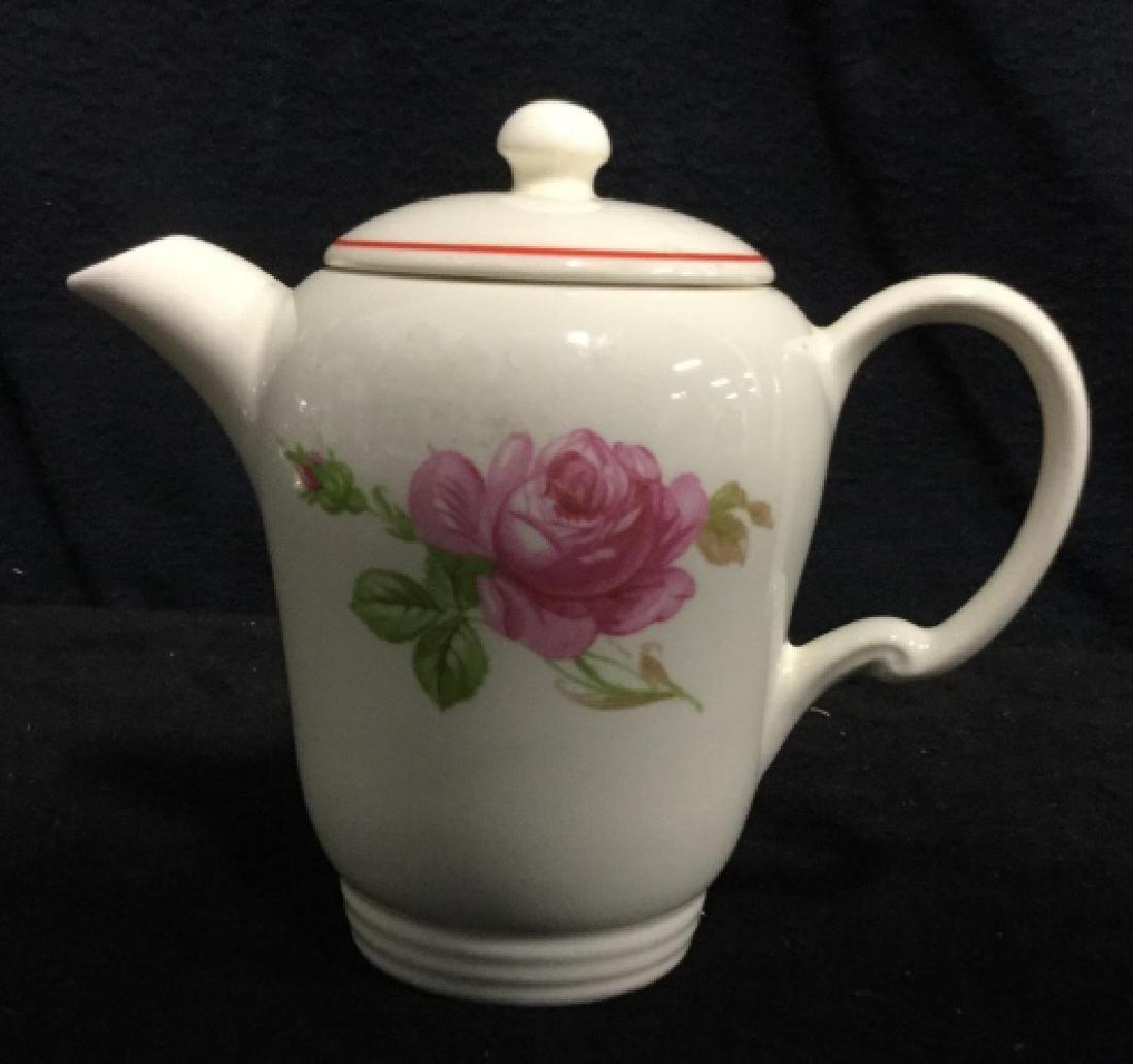 Floral Painted Tea Set Pot w Cups - 2