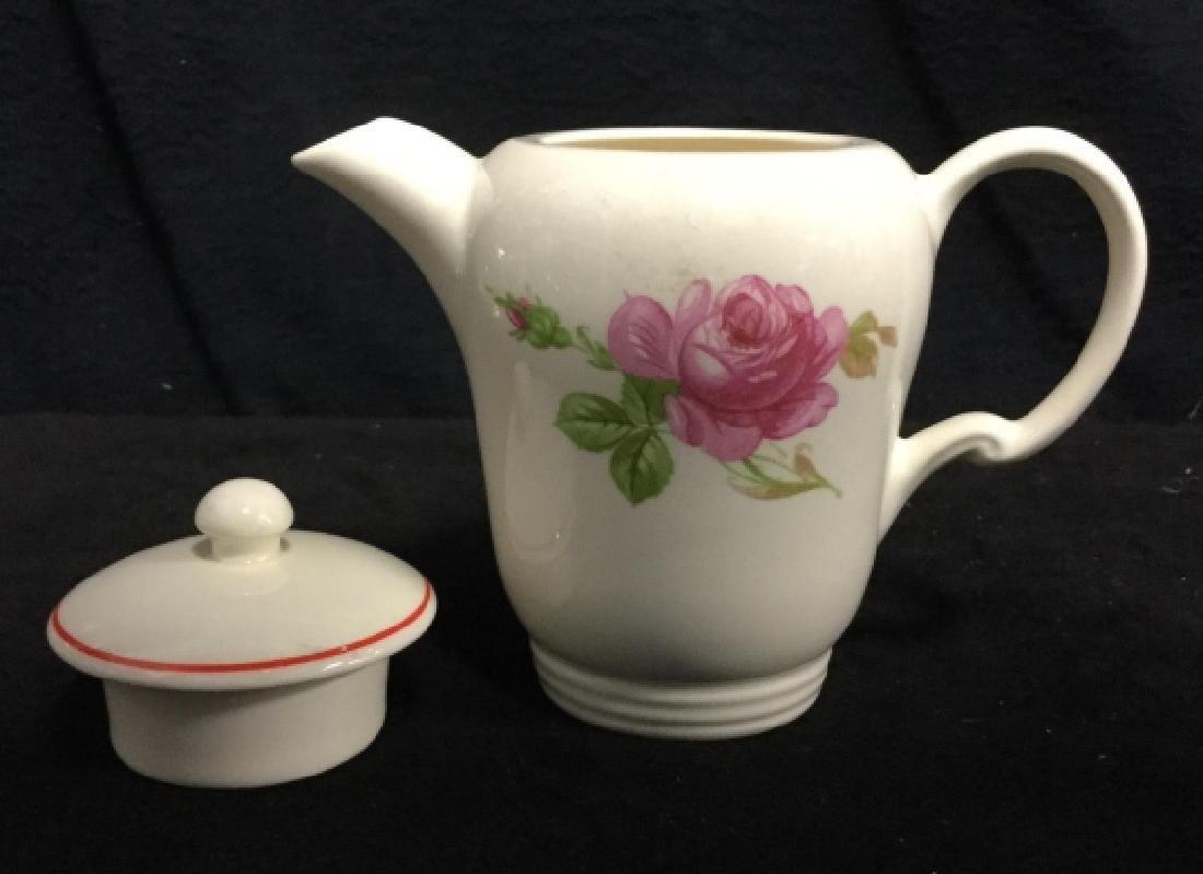 Floral Painted Tea Set Pot w Cups - 3
