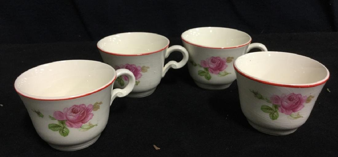 Floral Painted Tea Set Pot w Cups - 4