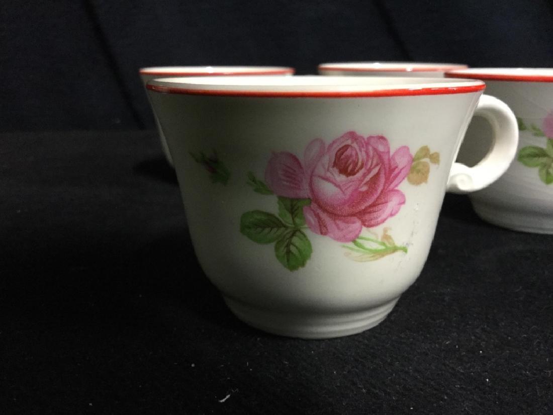 Floral Painted Tea Set Pot w Cups - 5