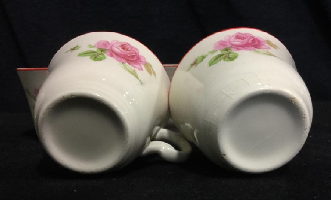 Floral Painted Tea Set Pot w Cups - 6