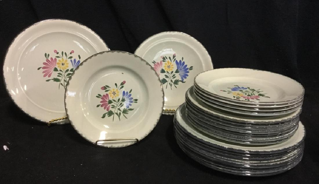 Set 23 Hand Painted French Ceramic Plates