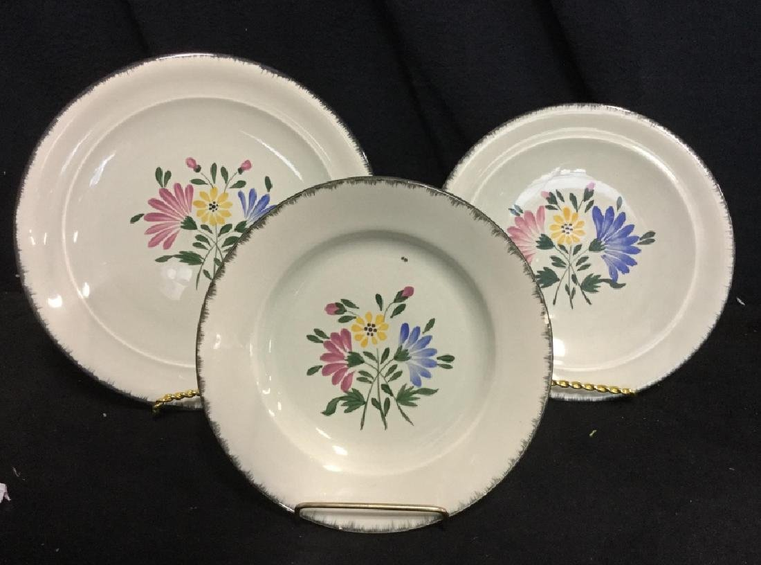 Set 23 Hand Painted French Ceramic Plates - 2