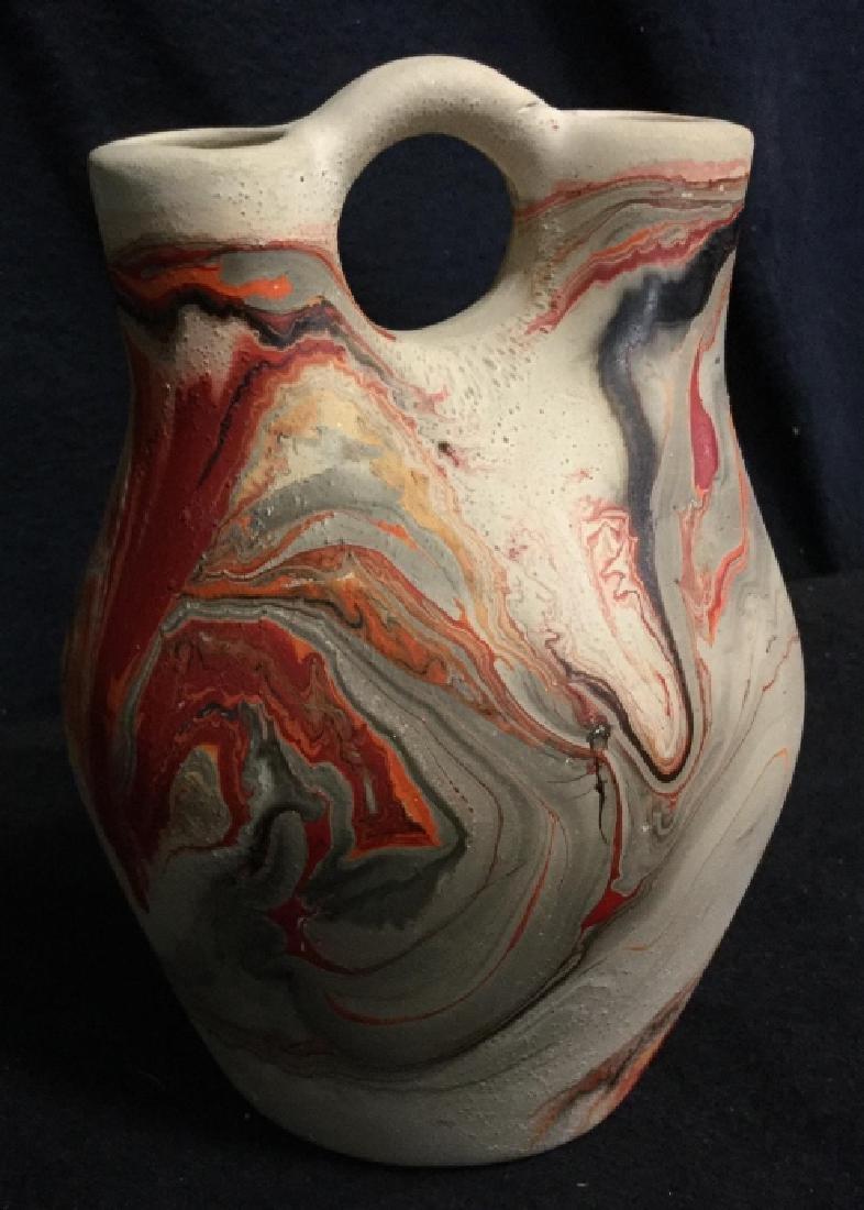 Handmade Clay Marbled Bud Vase - 2