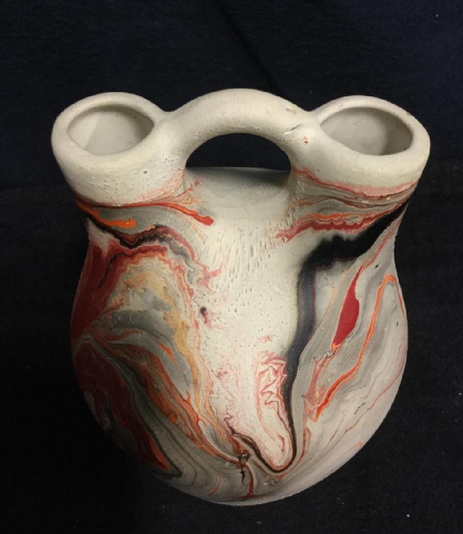Handmade Clay Marbled Bud Vase - 3