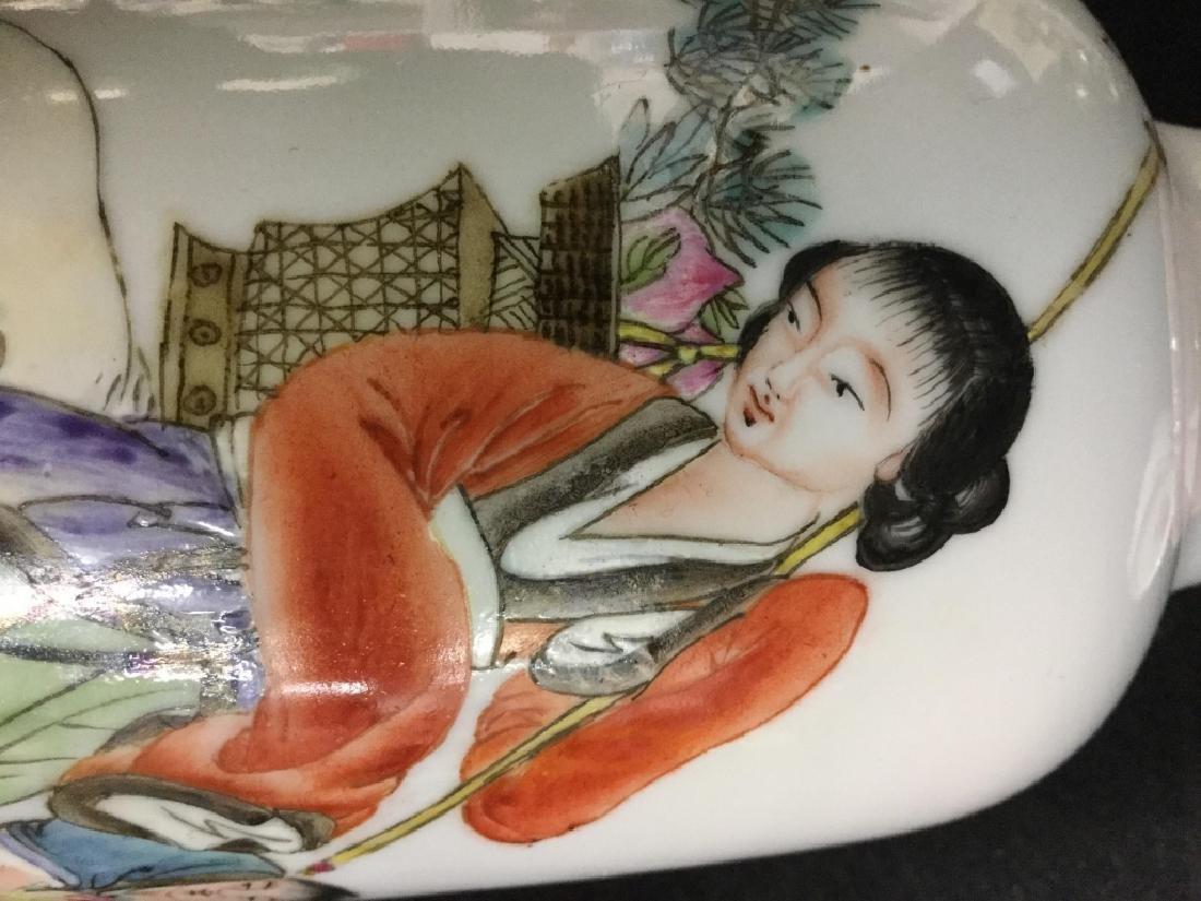 Hand Painted Asian Females on Vase Set, Signed - 8