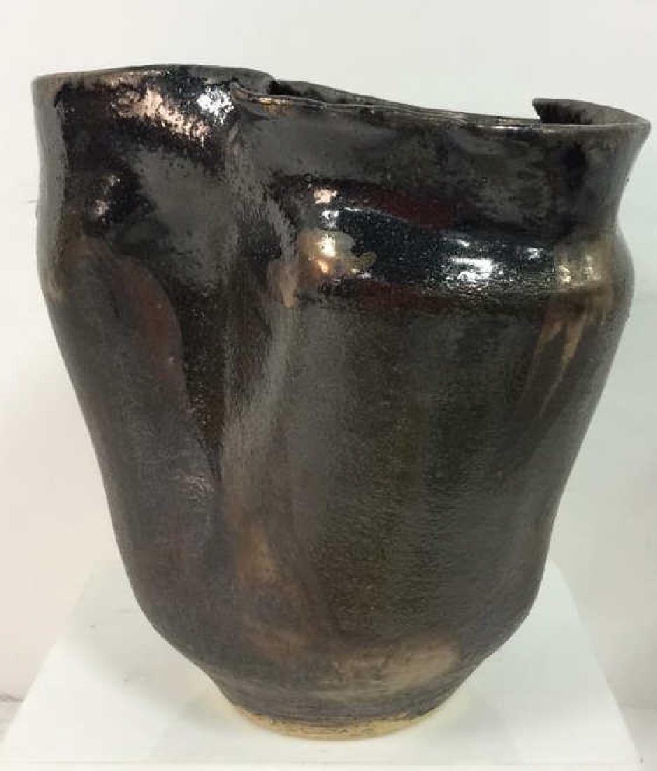Mid Century Sculptural Japanese Raku Pottery Vase