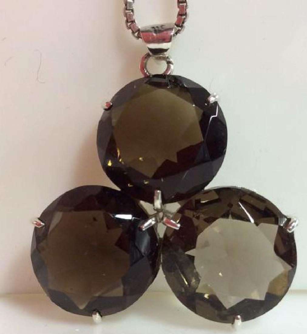 Mid Century Sterling W Smoky Quartz Necklace - 2