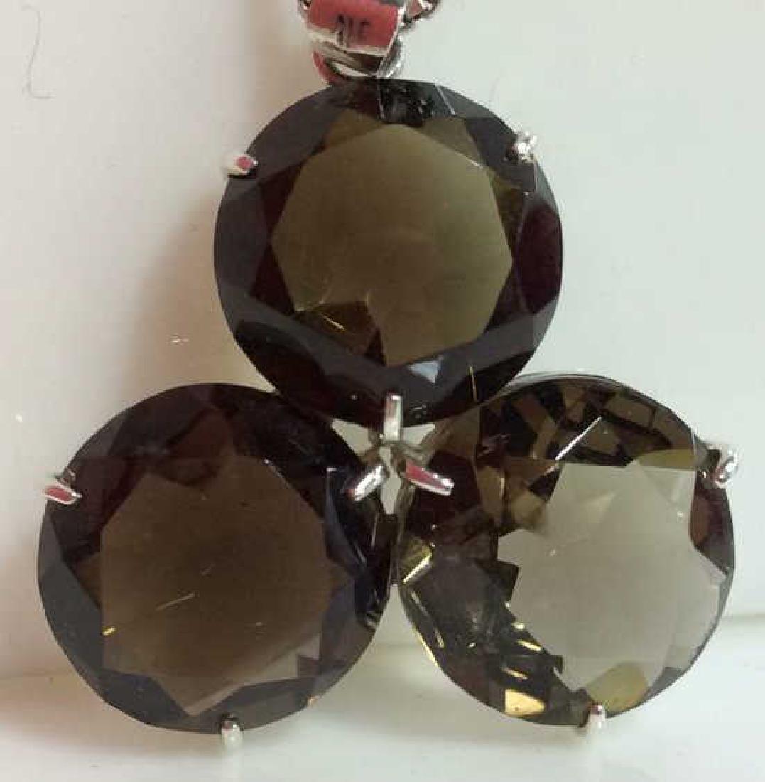 Mid Century Sterling W Smoky Quartz Necklace - 3