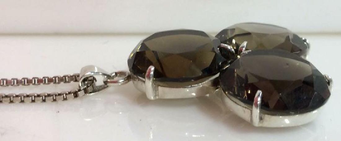 Mid Century Sterling W Smoky Quartz Necklace - 4