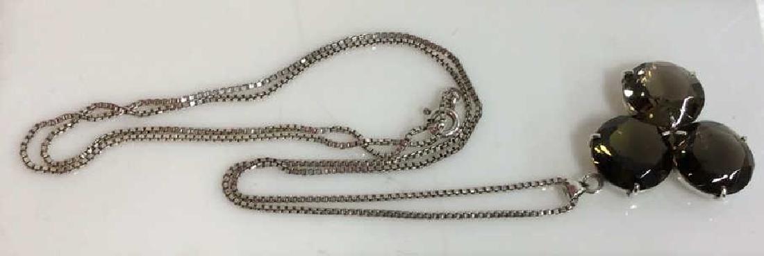 Mid Century Sterling W Smoky Quartz Necklace - 6