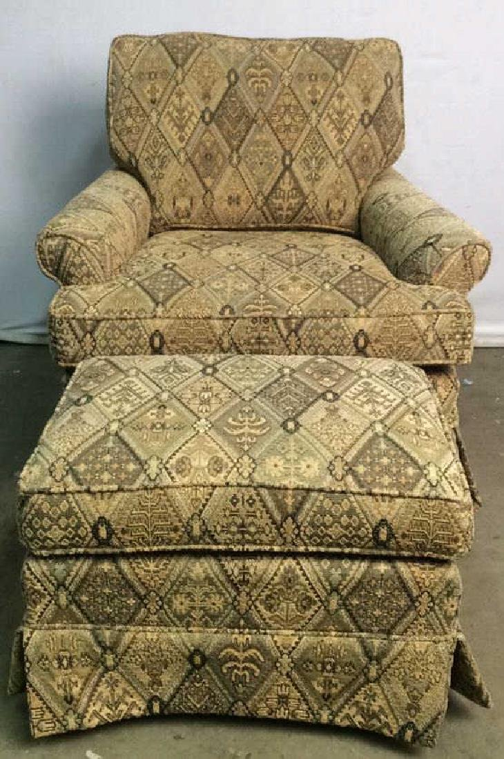 Lot 2 ETHAN ALLEN Arm Chair And Ottoman
