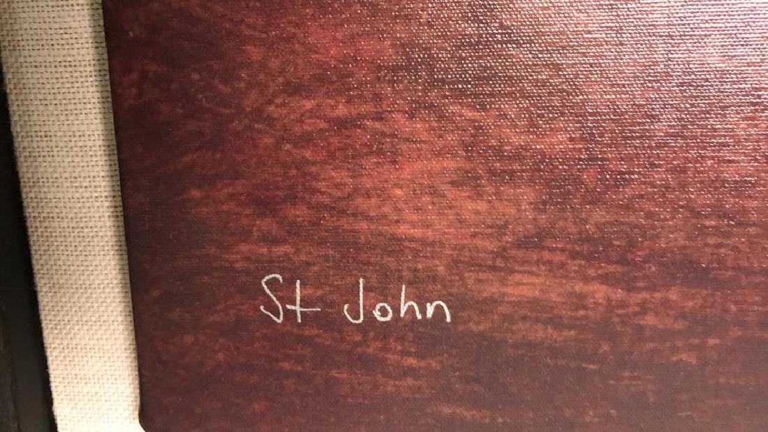 ST JOHN Signed Lithograph Artwork On Canvas - 6