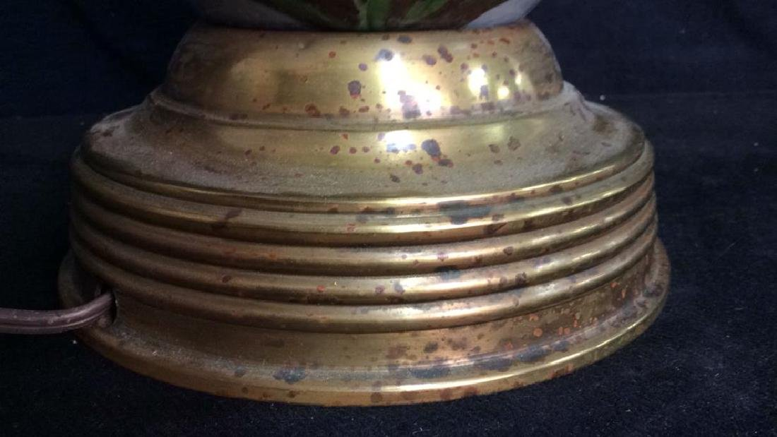 1970s French Barbotine Brass Mounted Lamp - 5