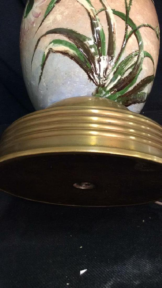 1970s French Barbotine Brass Mounted Lamp - 9