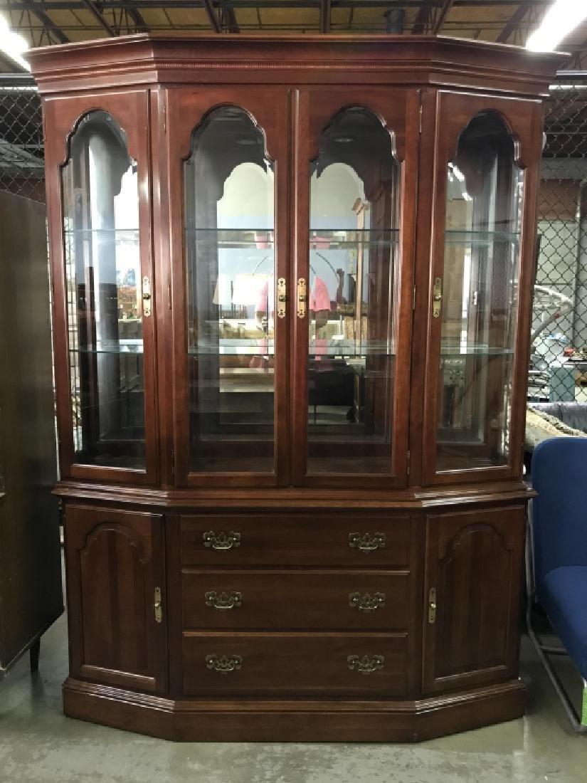 ETHAN ALLEN Carved Wooden China Cabinet