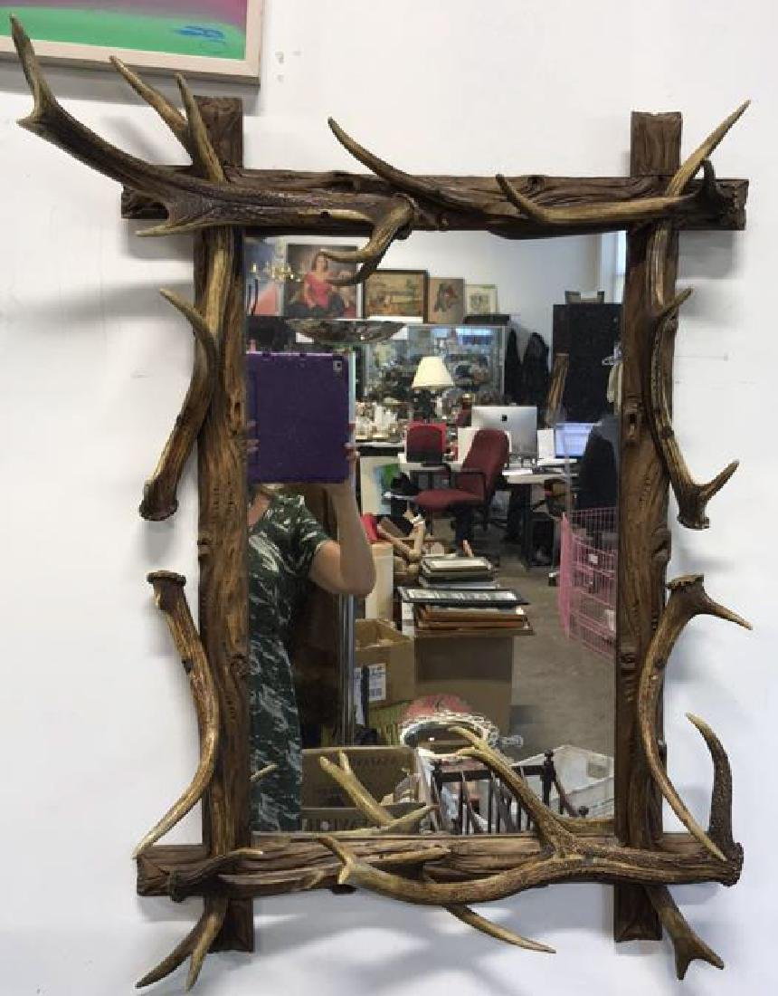 Antique Carved Wood & Stag Horn Mirror