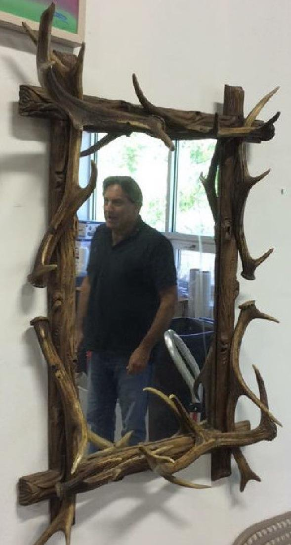Antique Carved Wood & Stag Horn Mirror - 2