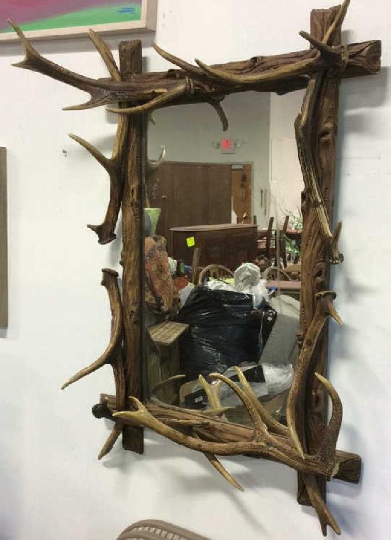 Antique Carved Wood & Stag Horn Mirror - 3
