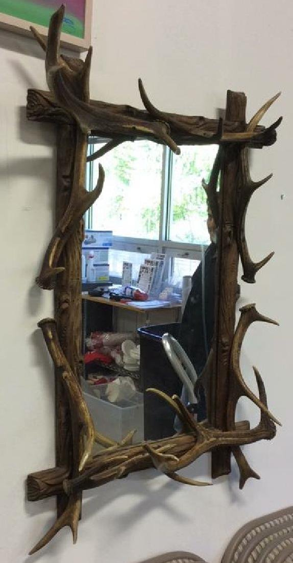 Antique Carved Wood & Stag Horn Mirror - 4