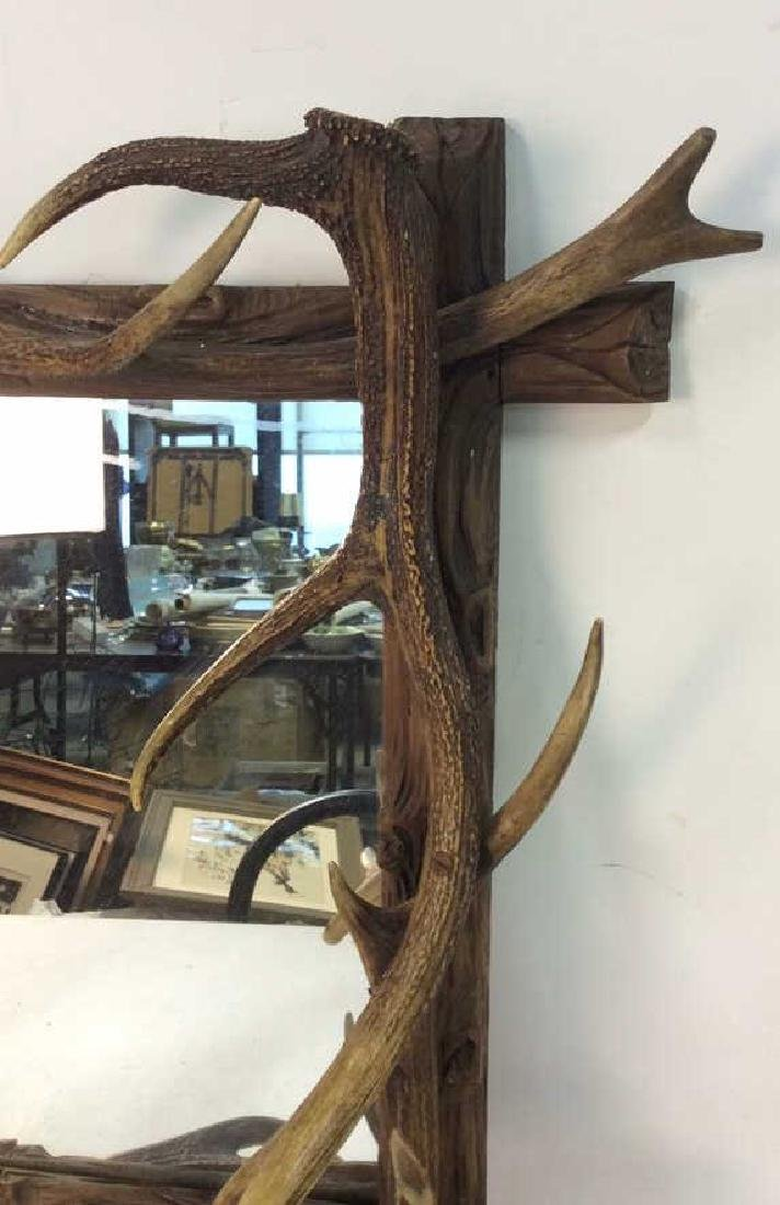 Antique Carved Wood & Stag Horn Mirror - 5