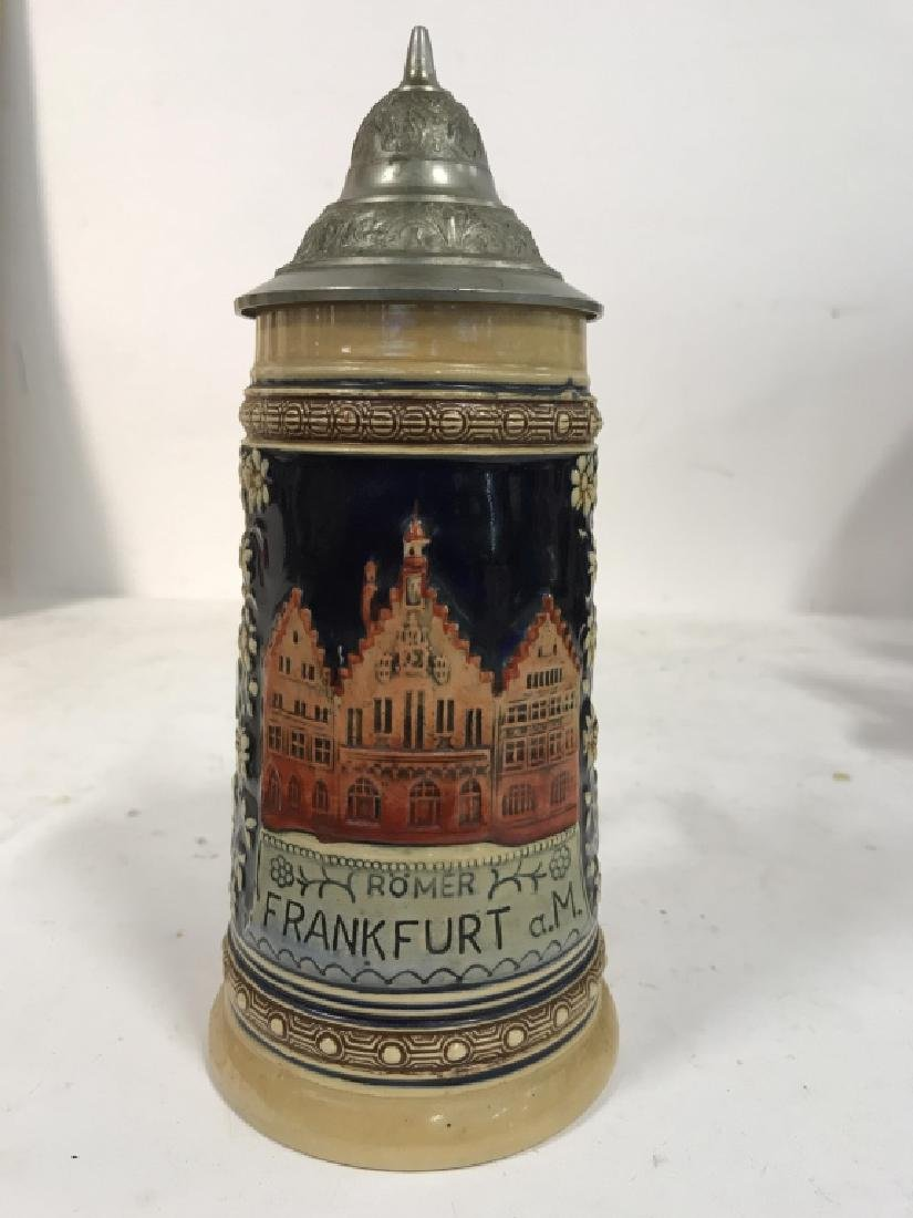 Ceramic Pewter Frankfurt German Beer Stein