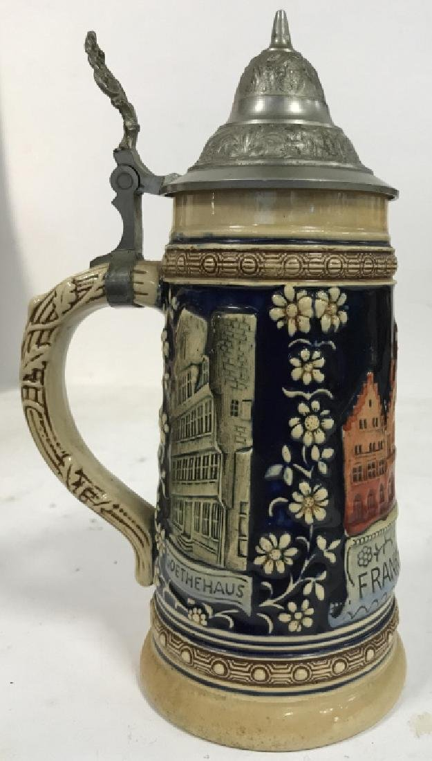Ceramic Pewter Frankfurt German Beer Stein - 2