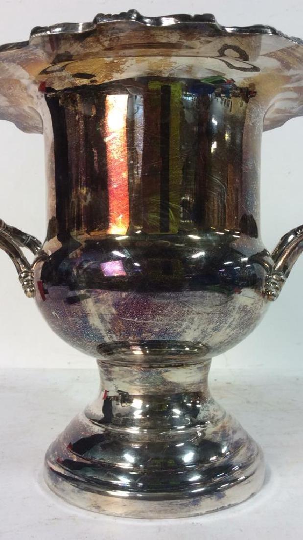 Silver Toned Handled Metal Ice Bucket - 10