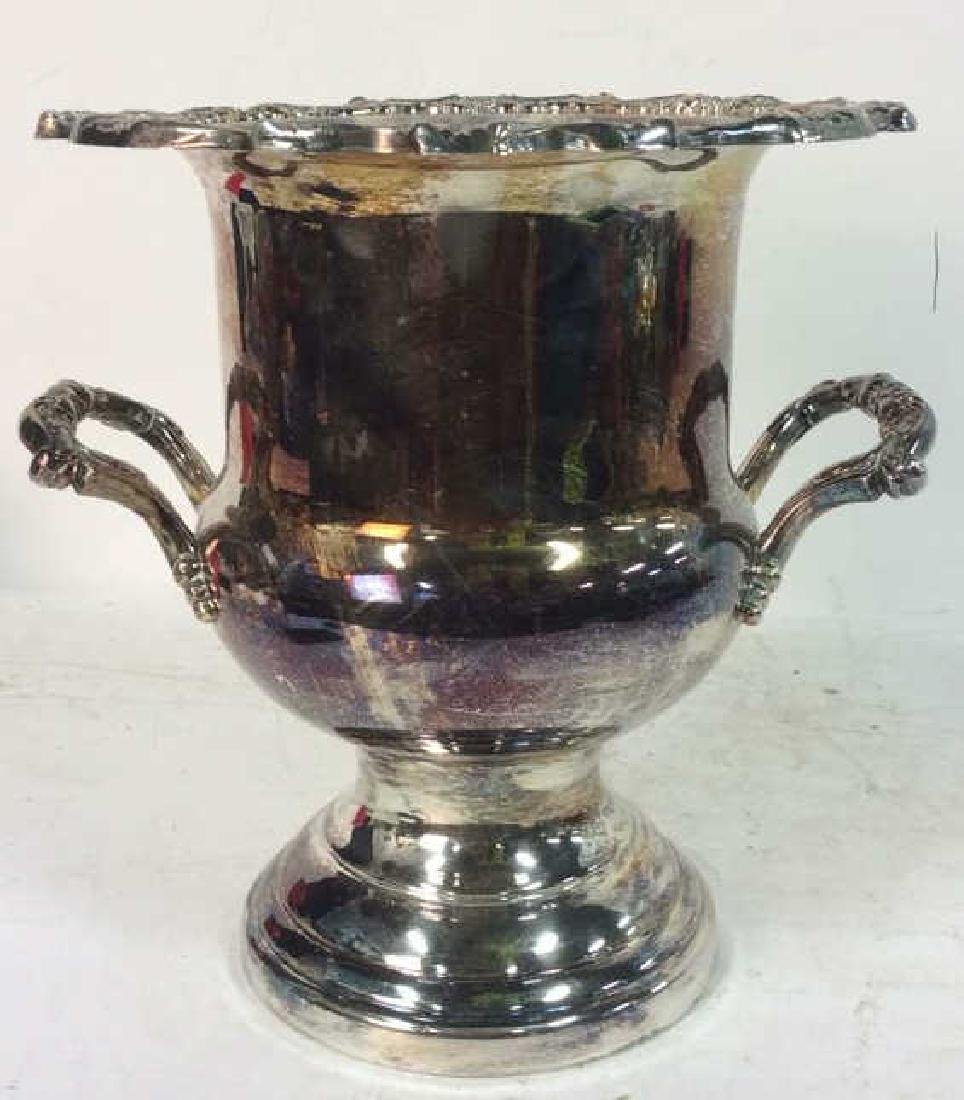 Silver Toned Handled Metal Ice Bucket