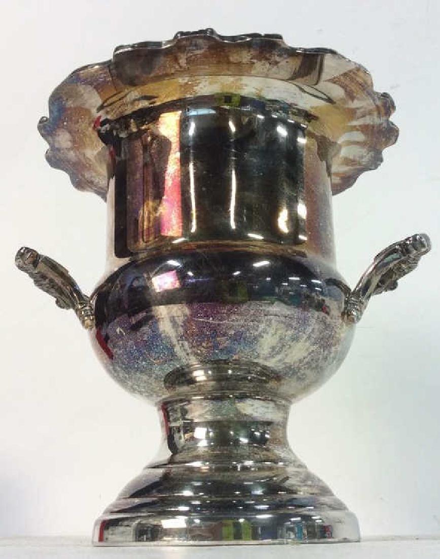 Silver Toned Handled Metal Ice Bucket - 2