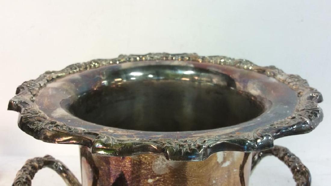 Silver Toned Handled Metal Ice Bucket - 3