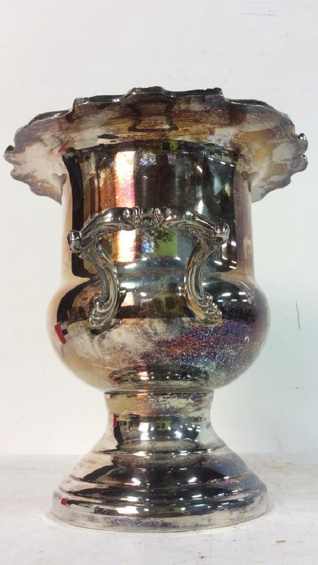 Silver Toned Handled Metal Ice Bucket - 4