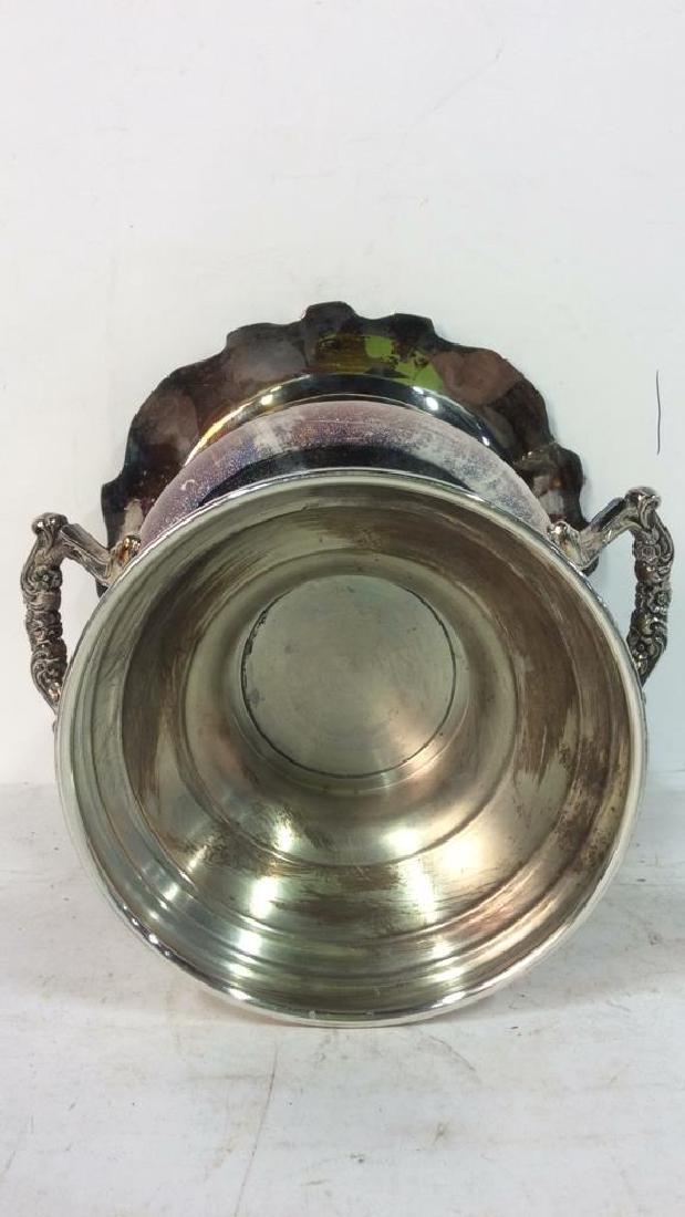 Silver Toned Handled Metal Ice Bucket - 6