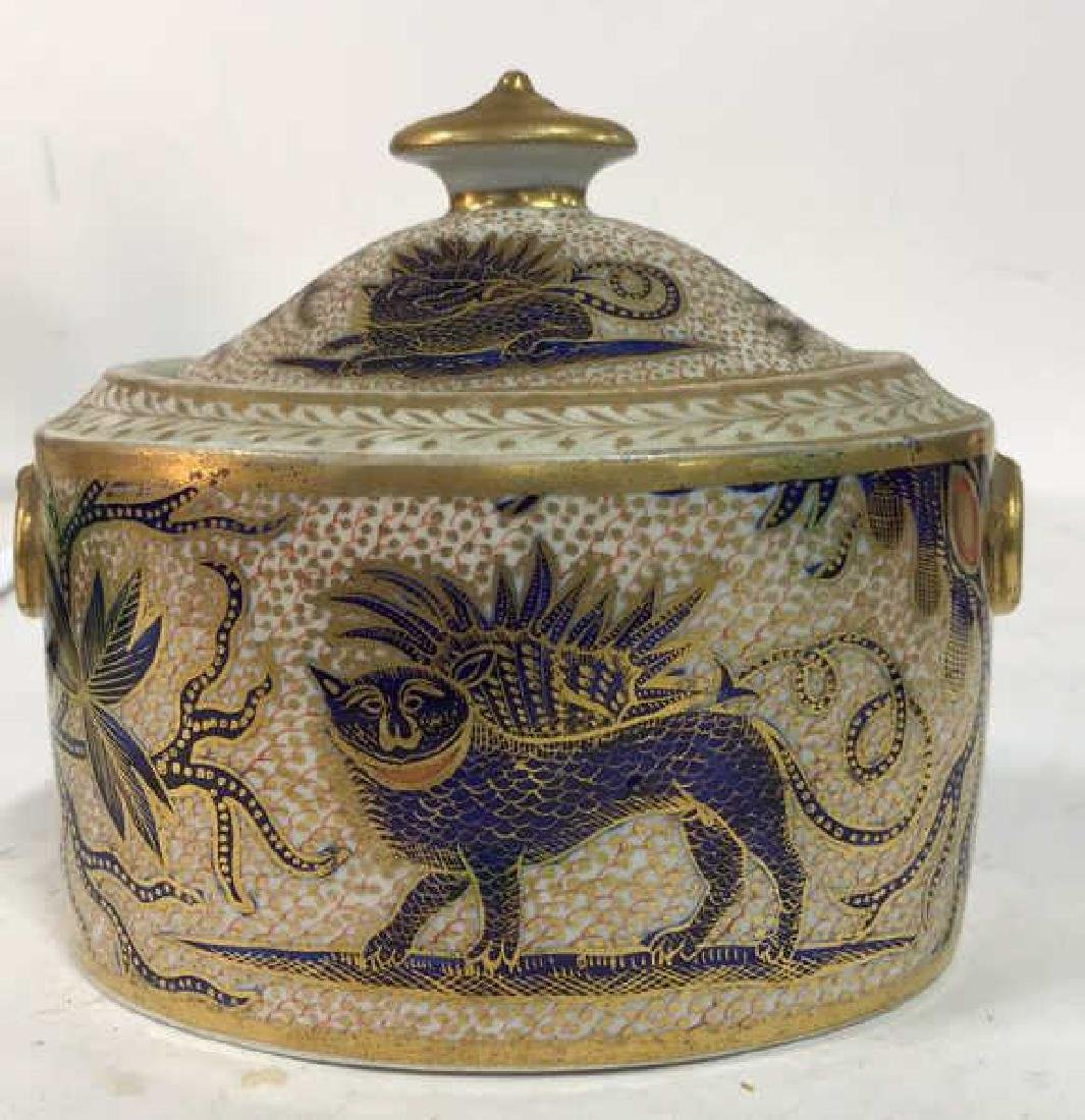 Intricate Design Porcelain Lidded Bowl w Dragon
