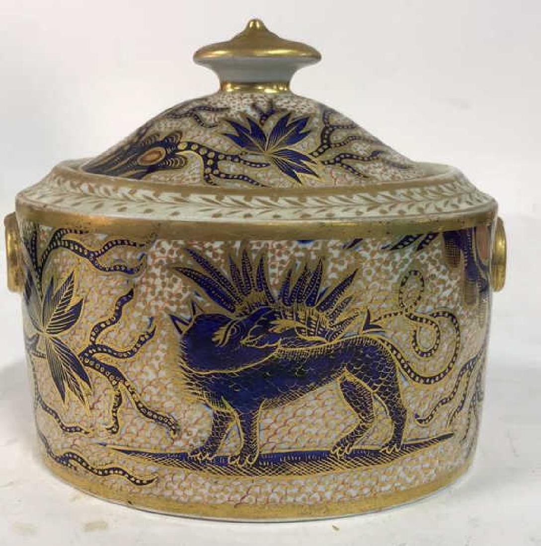 Intricate Design Porcelain Lidded Bowl w Dragon - 2