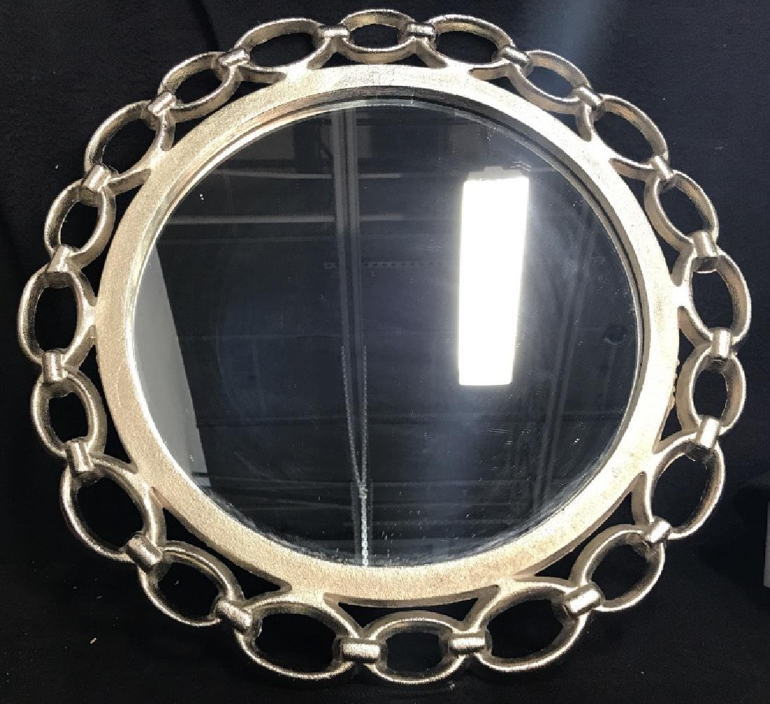 Metal Silver Toned Round Chain Mirror
