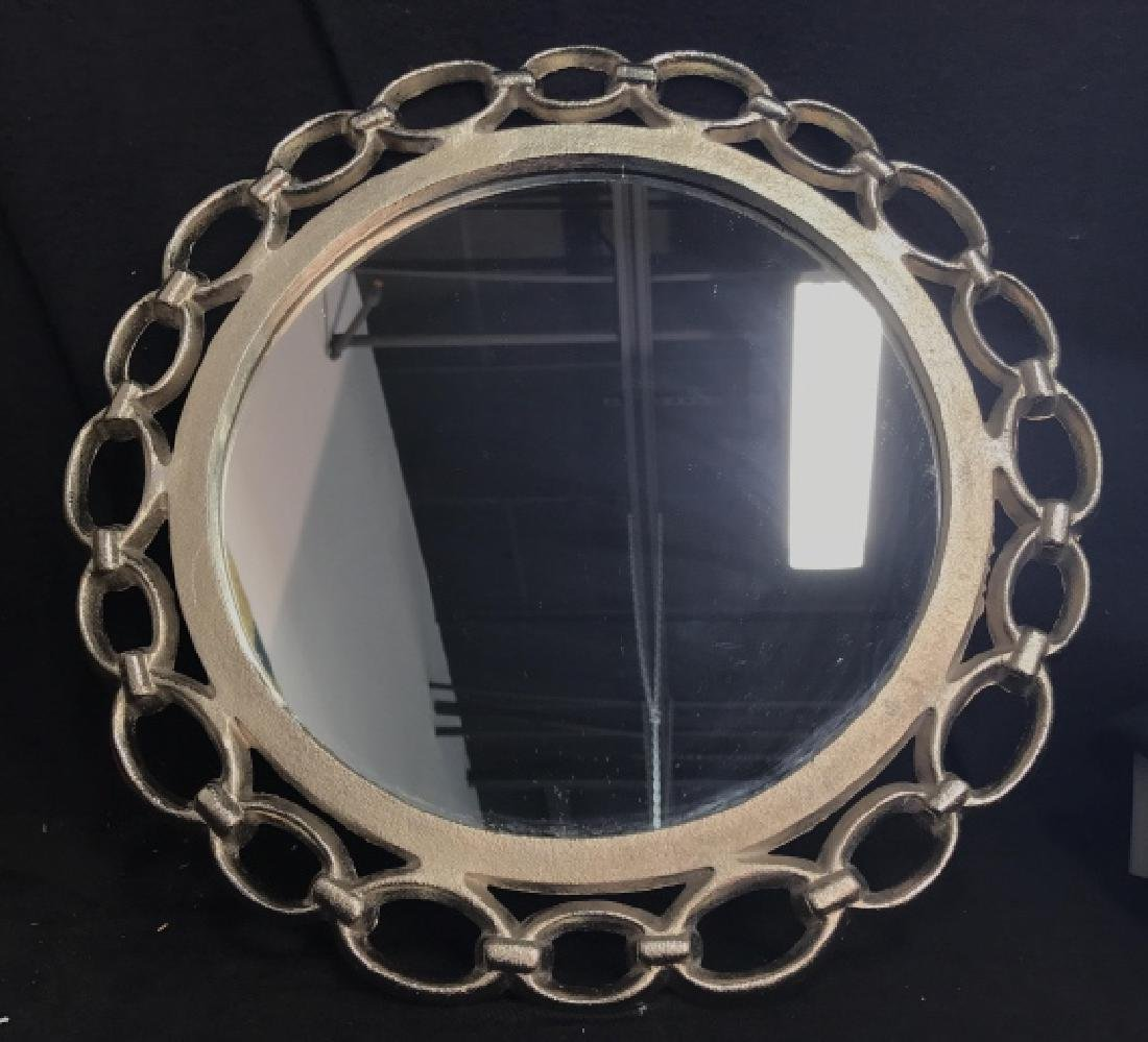 Metal Silver Toned Round Chain Mirror - 2