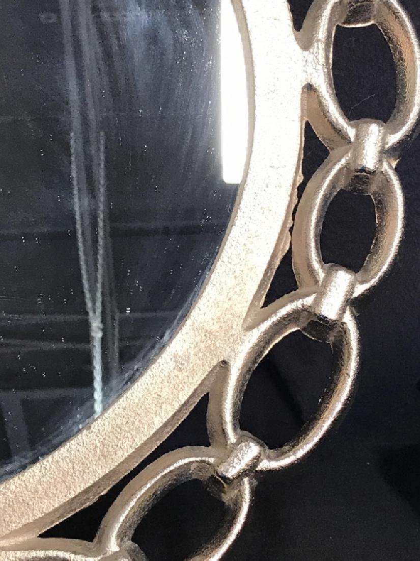 Metal Silver Toned Round Chain Mirror - 3