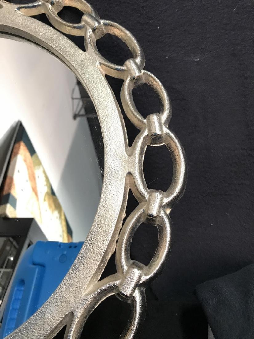 Metal Silver Toned Round Chain Mirror - 4