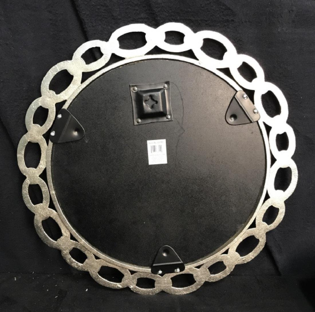 Metal Silver Toned Round Chain Mirror - 5