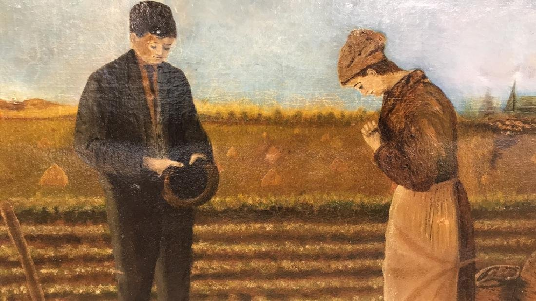 Farmers w Crops Antique Oil Painting on Canvas
