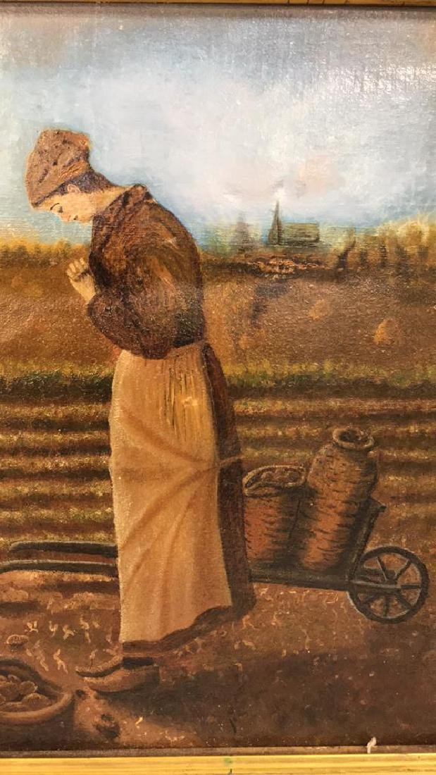 Farmers w Crops Antique Oil Painting on Canvas - 5