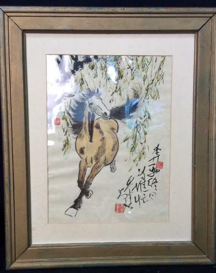 Asian signed Watercolor & Ink  Horse Illustration